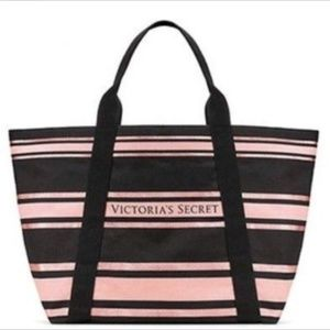 Victoria's Secret Logo Sparkle Tote Bag Black/Pink